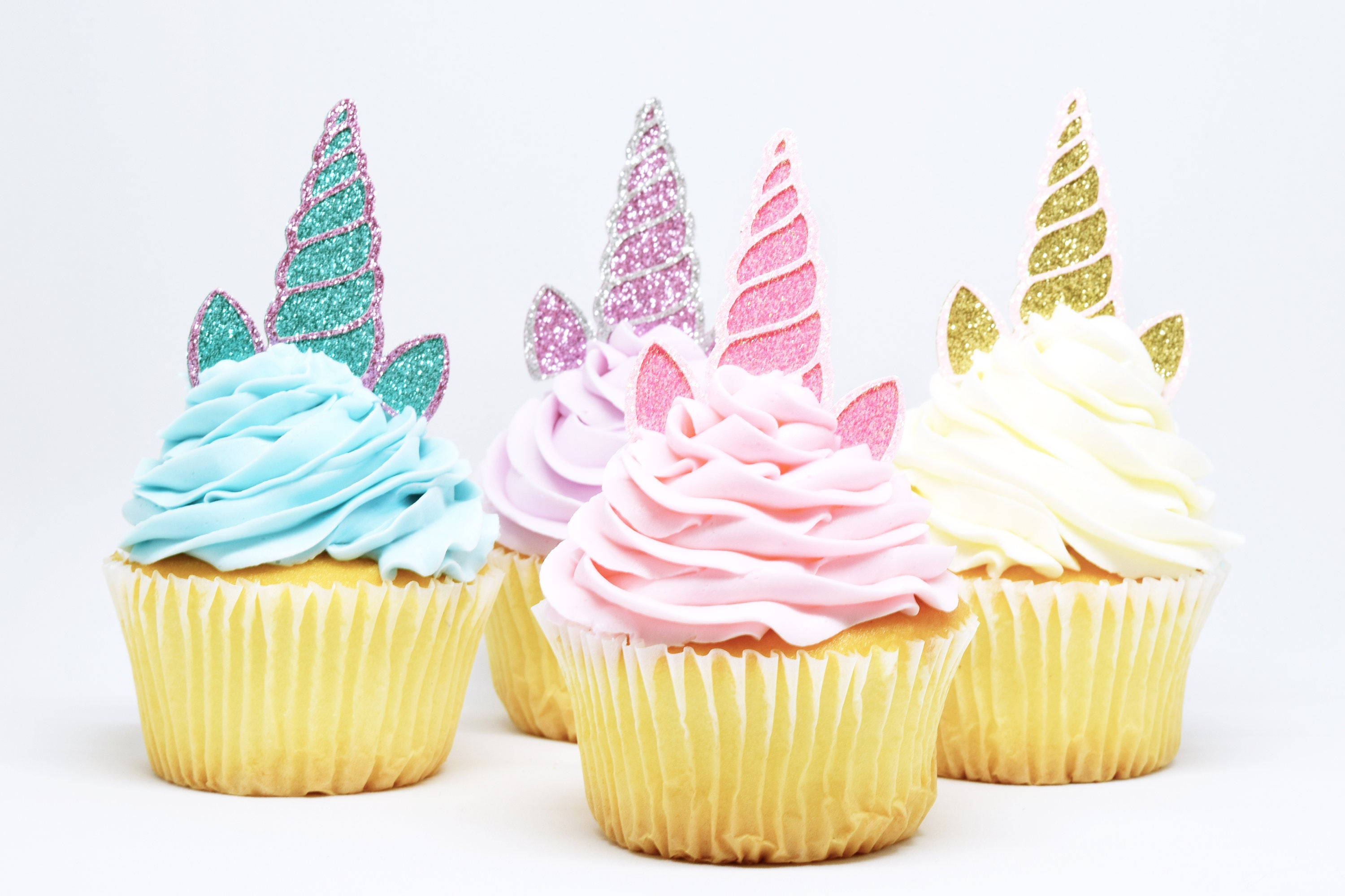 Unicorn Horn Ears Cupcake Toppers Glitter First Birthday