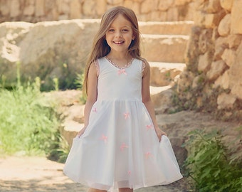 SALE// White Twirly Dress for Girls with baby pink bows/Toddlers// Birthday dress // white and pink dress for girls