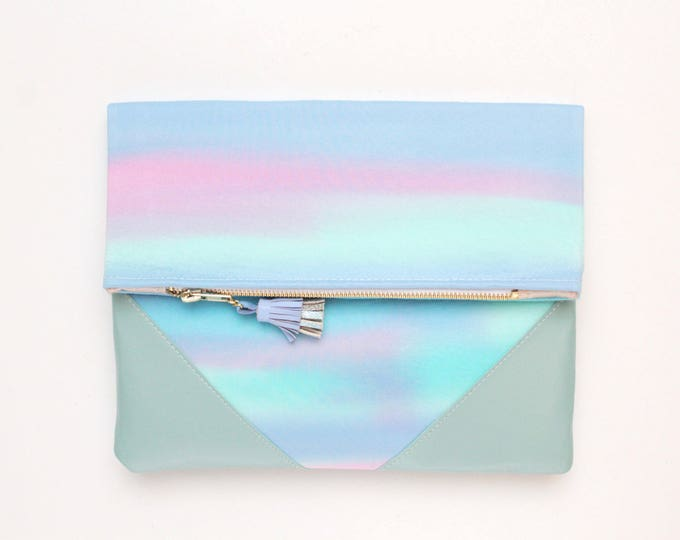 Dyed cotton clutch bag. Fold over clutch. Leather handbag. Statement purse. Hand colored. Natural leather. Watercolor fabric. /PALOMA 4