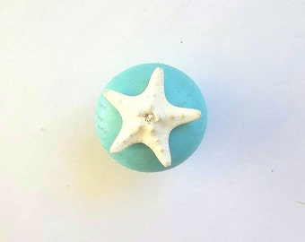 Starfish knob Cabinet / Door Drawer knobs pulls Swarovski Crystals Beach Nautical Coastal Sea Ocean Decor Furniture hardware Turquoise Blue