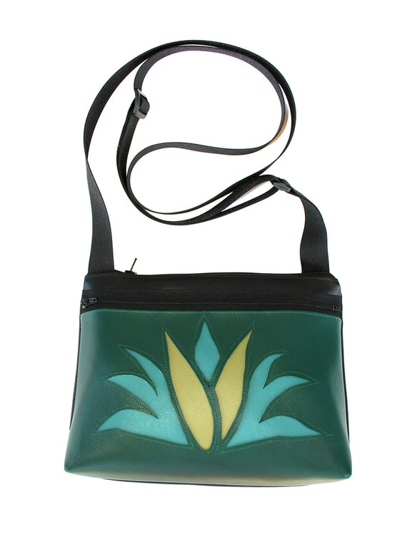 Agave, cactus, dark green, boxy cross body, vegan leather, zipper top
