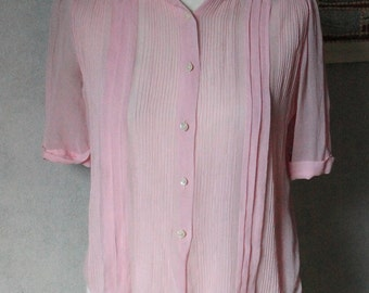 VINTAGE amazing soft pink crepe blouse made in England 1930s size S/M