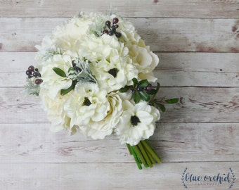 Cascade Bouquet, Silk Bouquet, Ivory, Anemone, Bridal Bouquet, Wedding Bouquet, Cascading Bouquet, Tropical Bouquet, Ivory Wedding Bouquet