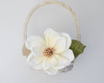 flower girl basket, rustic flower girl basket, flower girl, wedding, rustic, magnolia, wedding basket, wood basket, flower girl accessories