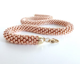 Rose Gold Necklace // Beaded Rope Necklace // Christmas Gift // Crochet Rope Necklace // Statement Necklace // Crocheted Necklace // For her