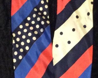Vintage 1960's Polka Dot and Stripe Scarf