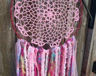 12 inch Pink Dreamcatcher, Wallhangings, Nursery Decor, One of a kind,