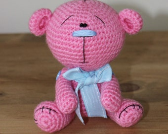 Cute Little Candy Pink & Blue Knitted Amigurumi Crochet Teddy Bear Nesting in a Gift Box - Handmade in the UK