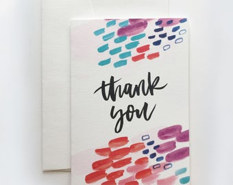 Thank You Card | Gratitude. Hand Lettering. Colourful. Painting.