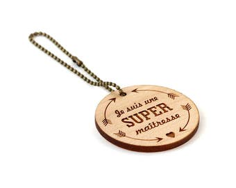 """Keychain """"I'm a super teacher"""" - lasercut maple wood - round wooden keyring with message - graphic accessory - professor - school - gift"""