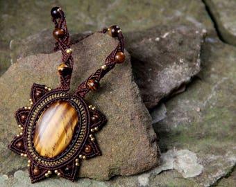 Mandala fairy princess tiger eye necklace