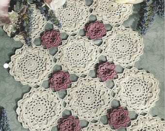Floating Roses Table Runner Crochet Doily Pattern, Table Topper, Home Decor, Centerpiece, Kitchen Decor, Cotton Thread Lace Crochet Doilies