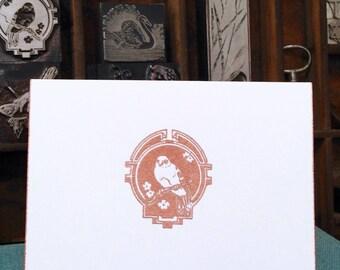 Embossed, BIRD, FLOWERS, Copper, Handmade, Vintage Printer's Block Image, White, Folded Card, Envelope, Copper Edges, Blank, Message