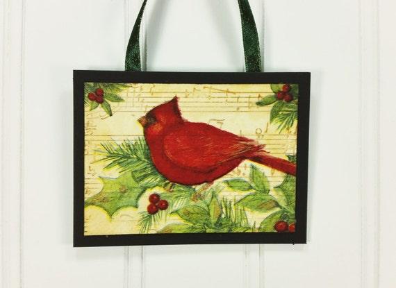 Red Cardinal Ornament Winter Wild Bird On Branch Handmade