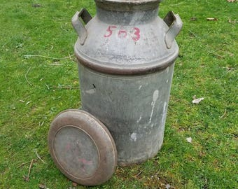 Vintage Milk Can with removable lid Farmhouse