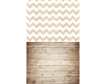 Rustic Chevron and Brown Wood - Vinyl Photography  Backdrop Photo Prop