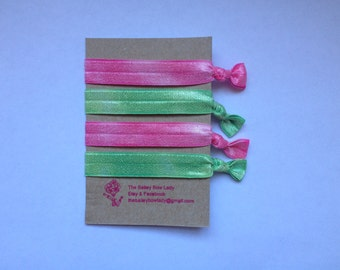 Pink and Green Tie Dye Hair Ties