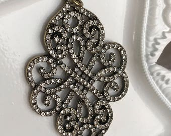 rhinestone pendant fancy scroll art deco style clear round antiqued bronze setting jewelry finding