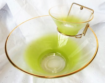 Blendo Frosted Lime Green Chip and Dip Set by West Virginia Glass Company