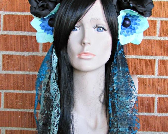 Flower Crown, Rose Skull Crown, Day of the Dead Flower Crown, Día de los Muertos Headdress, Skull Headband, Blue & Black Rose Crown, Lace