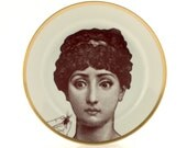 """Altered Vintage Porcelain Plate 7.48"""" Face Lina Cavalieri Hand Cockroach Woman Dishware Home Decoration Insect Scary Spooky Present Gift"""