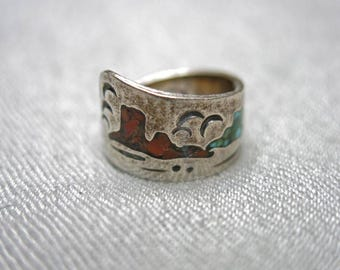 70s Southwestern Sterling Silver Ring with Inlay