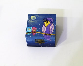 Hand painted jewelry box Jewelry storage Wooden jewelry box Trinket box Keepsake box Wooden box Gift for her Square box Decorative boxes