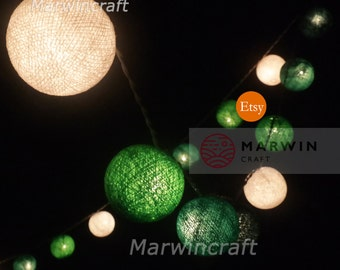 35 Cotton Balls Mixed Green Tone Fairy String Lights Party Patio Wedding Floor Table or Hanging Gift Home Decor Christmas Bedroom Present