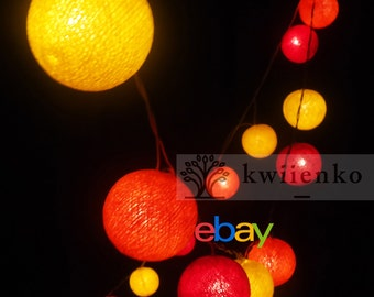 Battery Powered LED Bulbs 20 Sunshine Handmade Cotton Balls Fairy String Lights Party Patio Wedding Floor Hanging Gift Home Decor 4metres