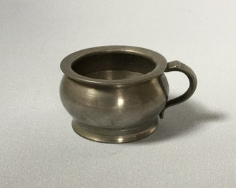 Small pewter cup, Child's pewter mug, Vintage pewter cup, Old pewter cup, mini mug