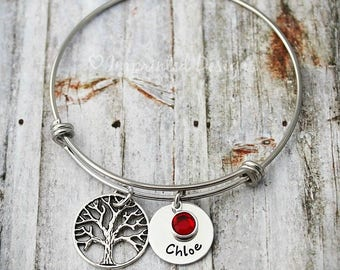 Mother's Bracelet - Mom Bangle - Personalized Tree of Life Bracelet - Names - Birthstones - Mother's Day Jewelry - Family Tree Jewelry
