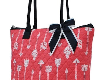 Arrow Print Large Quilted Shoulder Bag in Coral and White, Free Monograming/Personalization