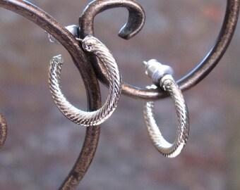 Vintage Huggie Earrings ~ Spiral Twist Design ~ Small Petite Hoops ~ Pierced Post Hoop Earrings ~ Silver-Plated - Hypo Allergenic