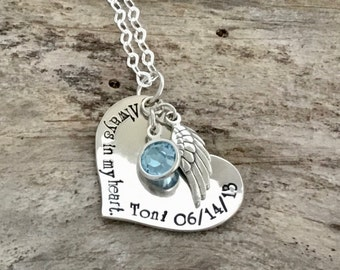 Personalized Memorial Jewelry - Mom Memorial Necklace - Remembrance Sympathy Jewelry for Daughter - Hand Stamped Sterling Silver