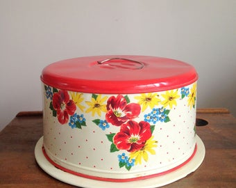 Vintage Cake Carrier, Floral Print Cake Carrier, Red Metal Cake Holder, Mid Century, Retro Cake Caddy, Tin Cake Carrier, Flowers, Polka Dots