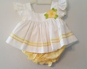 Vintage Baby Girl White Pinafore Dress with Yellow Rick Rack with Gingham Bloomers by C.I. Castro- Size 3-6 months- New, never worn