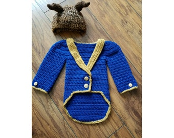 crochet 'The Beast' inpired set- size newborn-12months