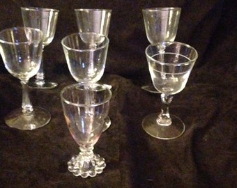 Set of 7 Vintage Wine Glasses