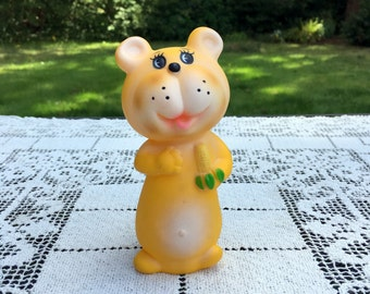 Squeaky Yellow Bear/Vintage Rubber Toy/ 5 in Rubber Bear/ 1960's Squeaky Toy/Made in Taiwan/ Collectible Toy/Squeaky Rubber Bear