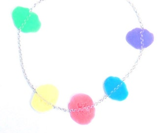 Silver bracelet and dissolve confetti-pastel colors