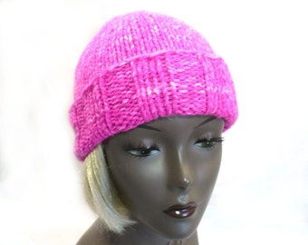 Hot Pink Winter Hat, Hand Knit Slouchy Watchcap, Chunky Knit Warm Hat, Handmade in USA, Ready to Ship