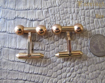 14Kt Rolled Gold Art Deco Retro (Unworn like New) Traditional Men's Barbell Design Cufflinks Cuff Links, Dress or Formal Shirt Cuff Buttons