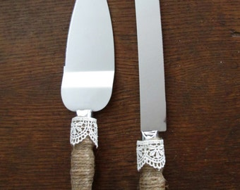 Wedding Cake Server ~ Wedding Cake Serving Set ~ Rustic Cake Server ~ Burlap Wedding ~ Summer Wedding ~ Burlap Wedding Cake Knife and Server