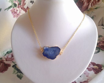 Blue druzy slice pendant gold filled necklace. Christmas. new years gift. birthday gift. for her. romantic boho chic. trendy