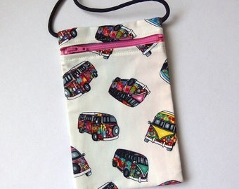 Pouch Zip Bag VAN  Fabric.  Great for walkers, markets, travel. Cell Phone Pouch. Small fabric purse. Hippie campervan Kombi purse 7x4.25""
