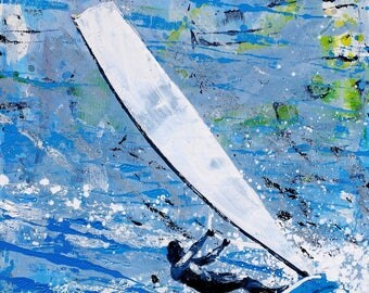 "Windsurfer print - surf decor - print of painting ""Windsurfer- cool zephyr"" by Melanie McDonald - surf style - wall art"