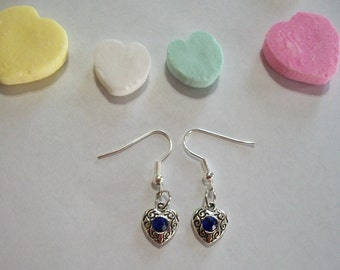 Pretty Blue Rhinestone Heart Earrings