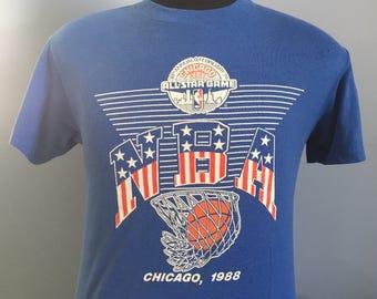 80s Vintage 1988 NBA All-Star Game Chicago T-Shirt - MEDIUM