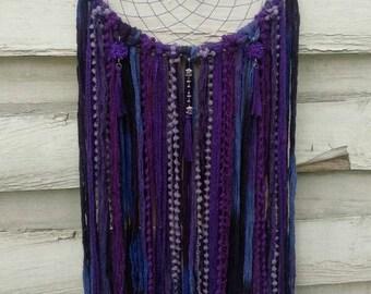 Boho Dreamcatcher Purple Dream, with yarn falls, tassels, wallhanging homedecor, bohodecoration