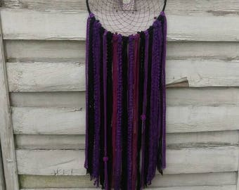 Boho Dreamcatcher purple and black with yarn falls, beads and wire balls, wallhanging homedecor, bohodecoration